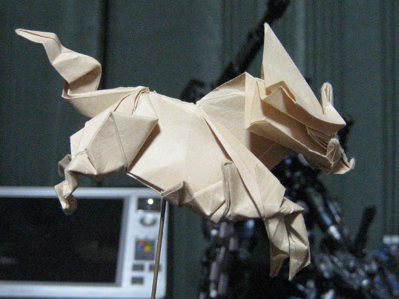 すべての折り紙 折り紙 ネコ : 水曜日:麒麟, ネコ―15°, Roman ...
